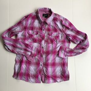 Marmot Women Size L Pink White Plaid Shirt